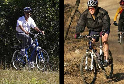 Obama and George Bush on their bicycles