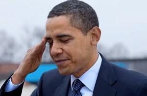 Obama saluting
