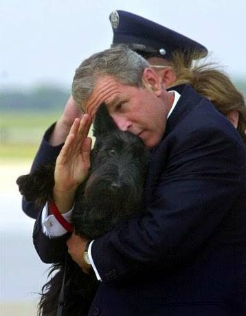 Bush salutes while holding dog