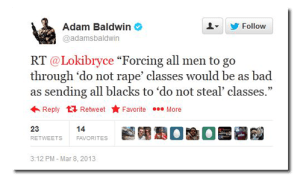 Adam Baldwin on the travesty of sending men to do not rape classes