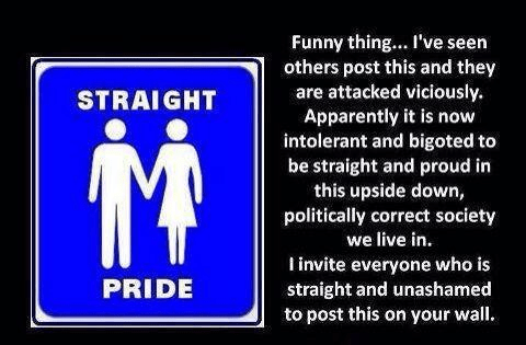 If there's gay pride, there should be straight pride
