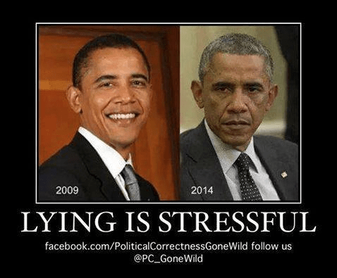 Obama aging because lying is stressful