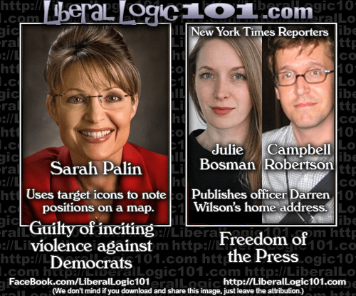 Sarah Palin and liberal reporters - two different standards