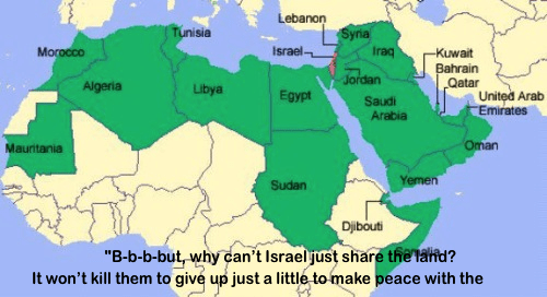 Israel a tiny spot in a vast Muslim seas