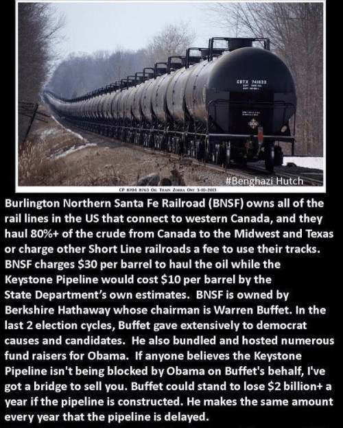 Keystone pipeline and the Warren Buffet connection