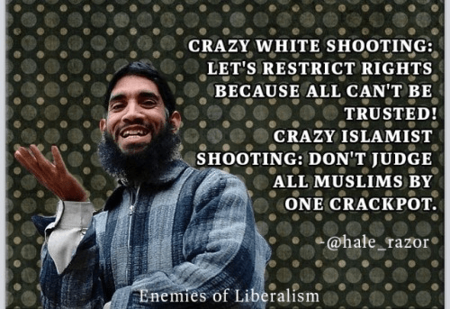 Leftists treat white people who kill as a class and Muslims who kill as individuals