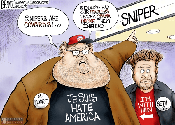Michael Moore and Seth Rogen Obama Drones American Sniper