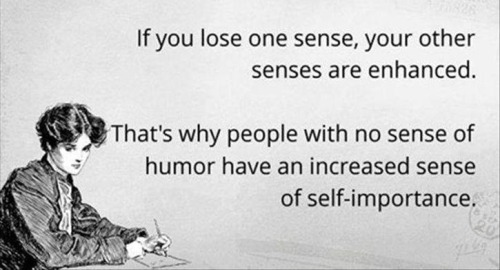 No sense of humor equals increased sense of importance