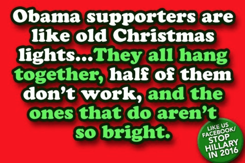 Obama supporters like old Christmas lights