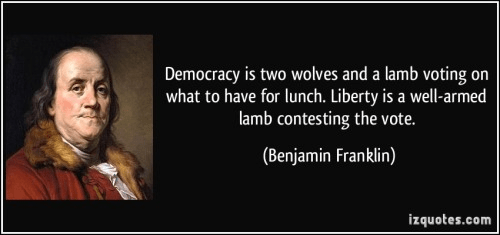 Franklin on democracy, wolves and lamb