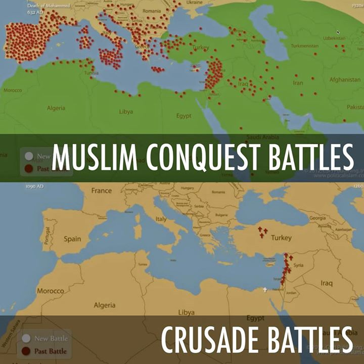 Muslim conquest v Crusade battles