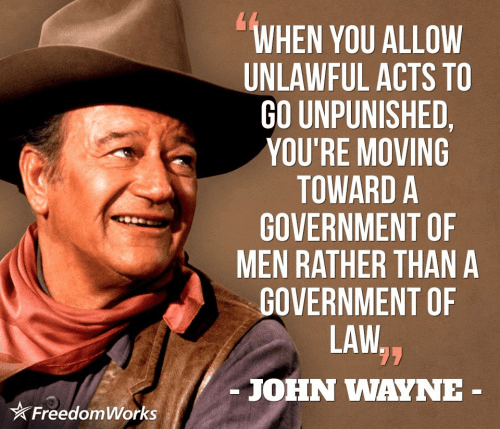 John Wayne on law order and liberty