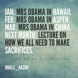 Michelle Obama demands sacrifices from others