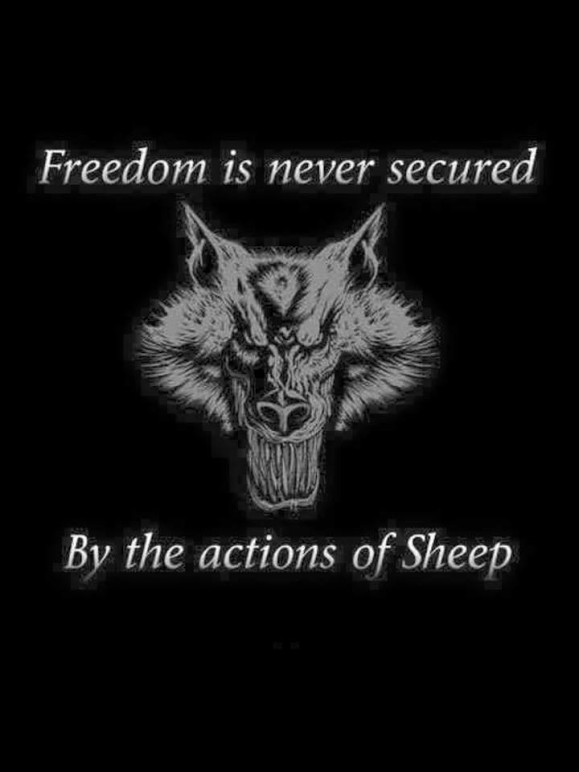 Sheep don't secure freedom