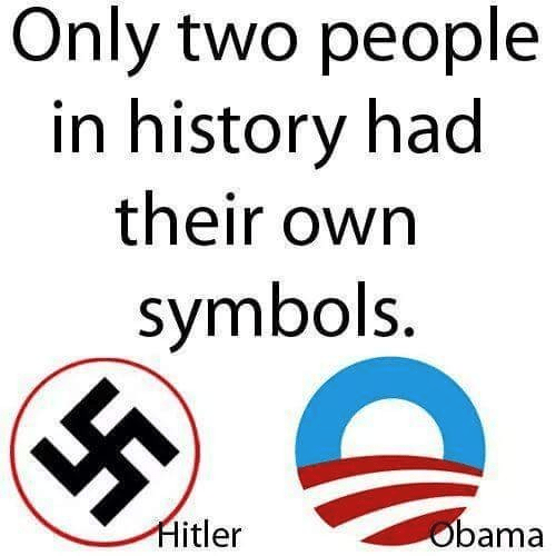 Two people in history with their own symbols Hitler and Obama