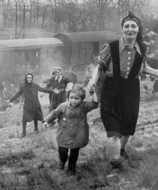 Bergen Belsen inmates liberated from a train 1945