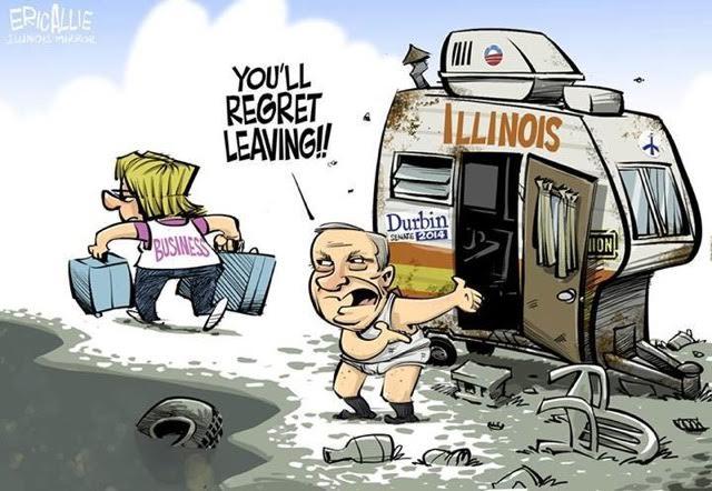 Business leaving Illinois cartoon
