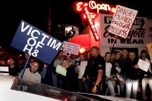 Gays protesting El Coyote
