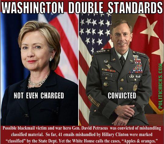 Hillary and Petraeus double standards