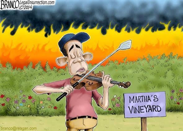Obama fiddling at Martha's Vineyard