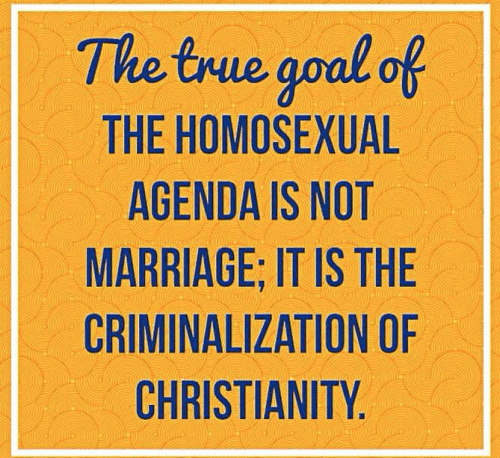 Gay agenda to criminalize christianity