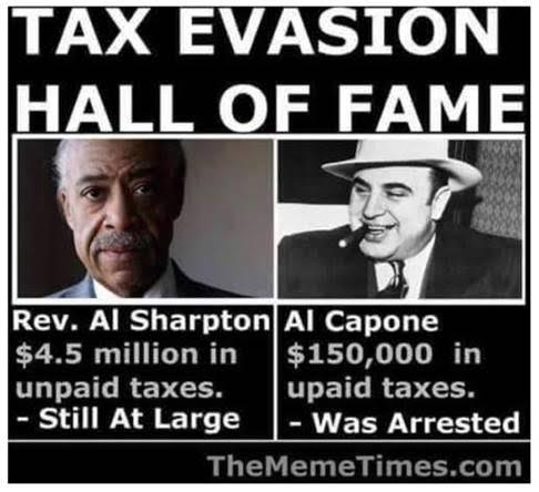 Tax evasion Hall of Fame Sharpton and Capone