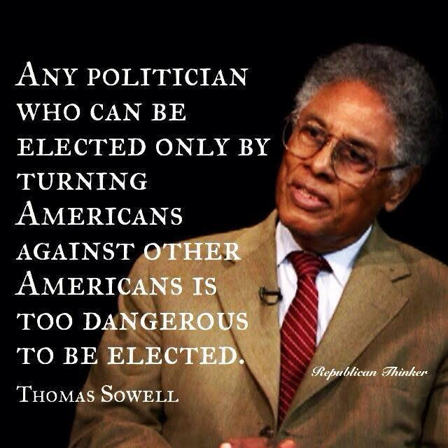 Divisive politicans are dangerous says Sowell