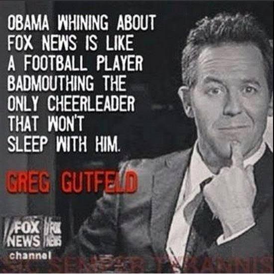 Obama Fox news and the cheerleader Gutfeld