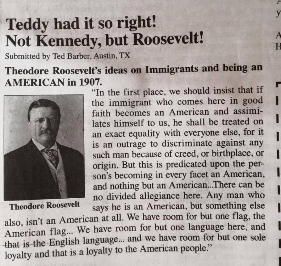Roosevelt on immigrants
