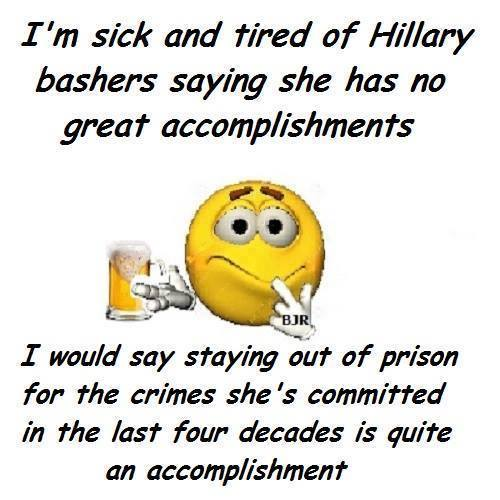 Hillary accomplished staying out of prison