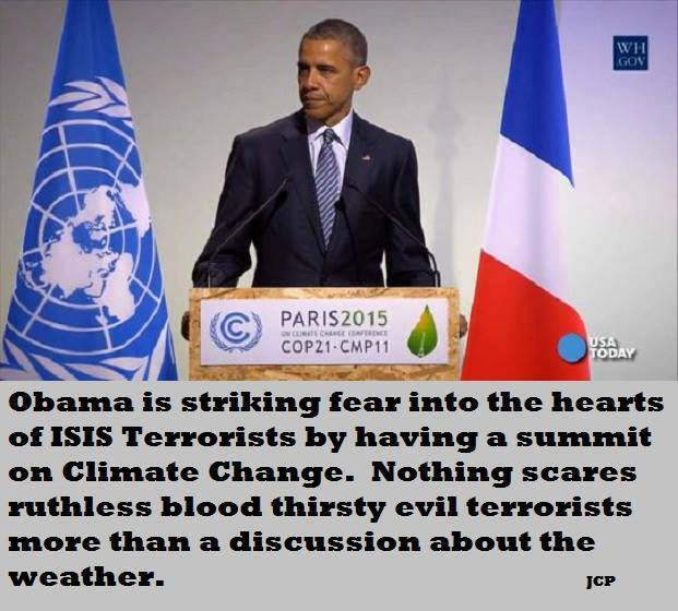 Scaring terrorists with weather discussion Obama