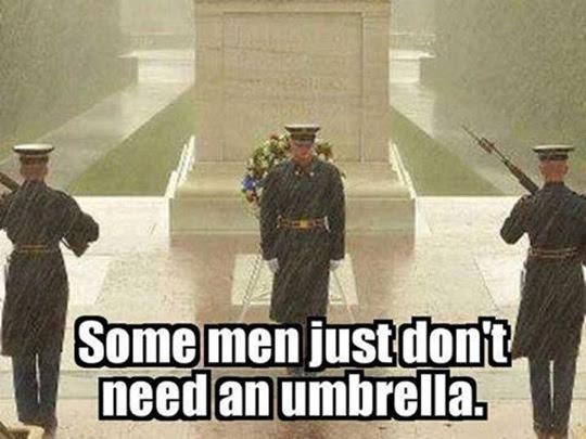 Unknown soldier guards no umbrella