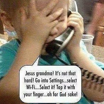 Kid training grandma on iPad