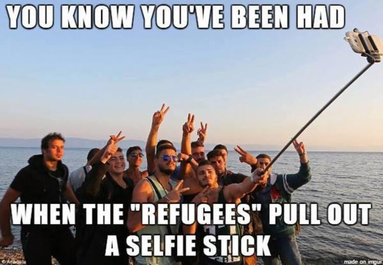 Refugees selfie stick