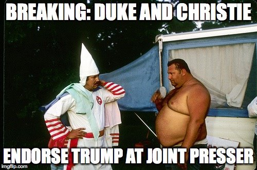 David Duke and Chris Christie endorse Trump