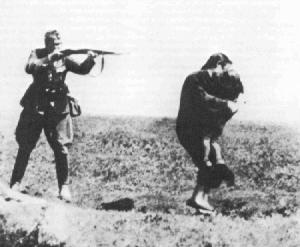 Nazi using gun to shoot unarmed people