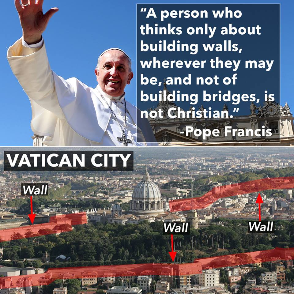 The Pope on building walls