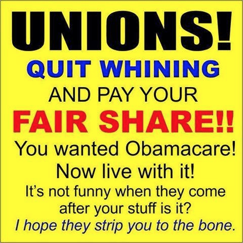 Unions whining about Obamacare