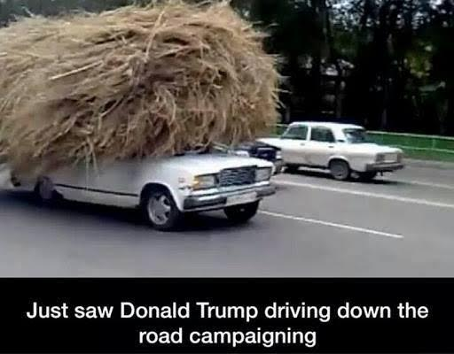 Donald Trump campaigning on road
