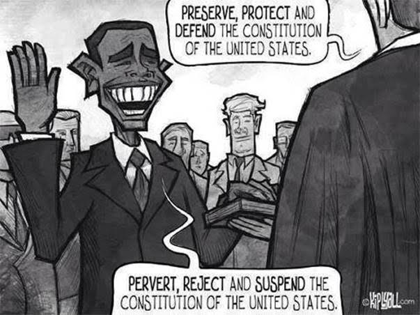 Obama swearing to pervert reject and suspend Constitution