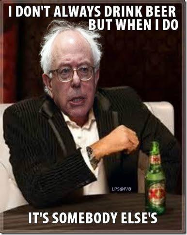 Bernie Sanders drinks other people's beer