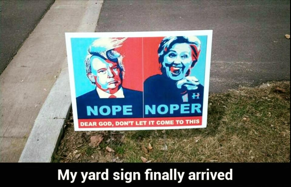Clinton Trump election yard sign
