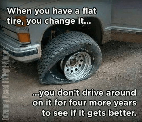 Elections change flat tire