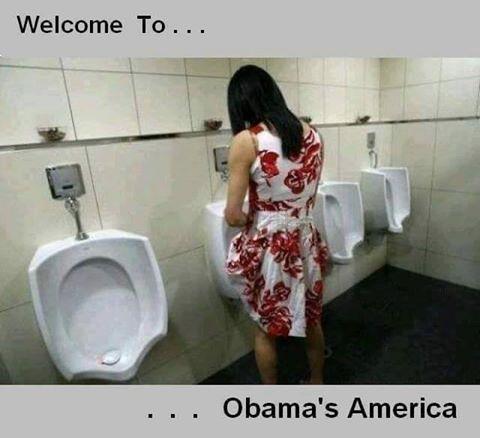 Description: Bathroom lady at urinal