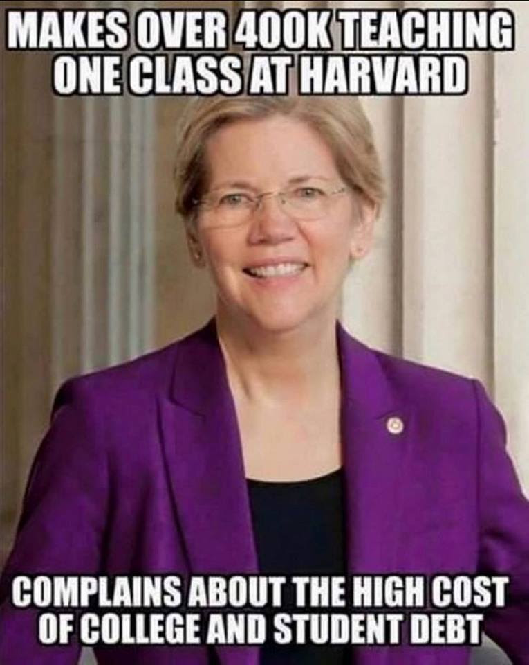 Stupid liberals Warren paid huge amount for teaching complains about costs