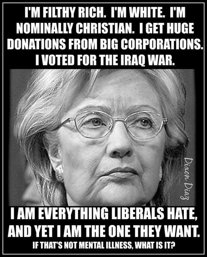 Hillary everything liberals supposedly oppose