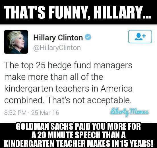 Hillary speech fees and kindergarten teacherse
