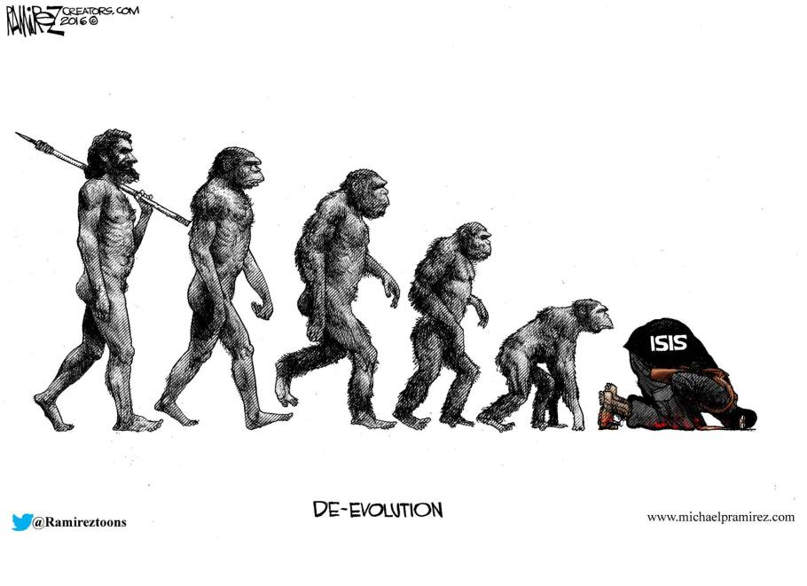 Islam devolution Michael Ramirez cartoon