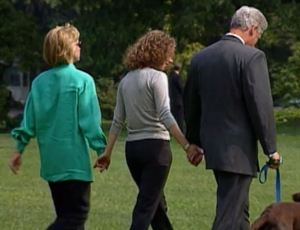 Bill, Hillary, and Chelsea in 1998, immediately after the blue dress forced Bill to confess.