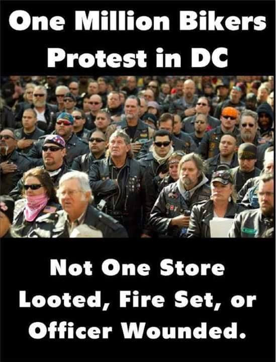 Blacks bikers protested in DC without rioting
